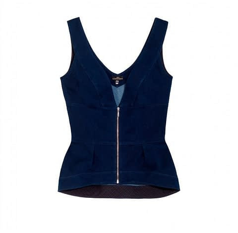 Elmira Medins | Denim V-Neck Jean Top