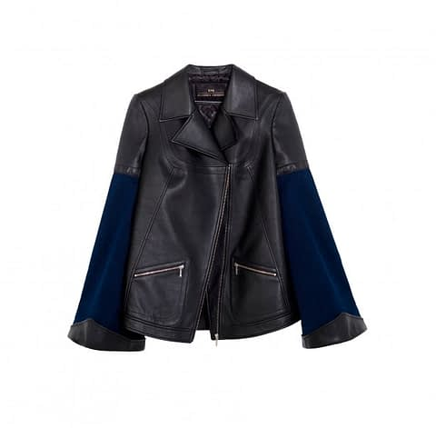Elmira Medins | Black Leather & Denim Jacket