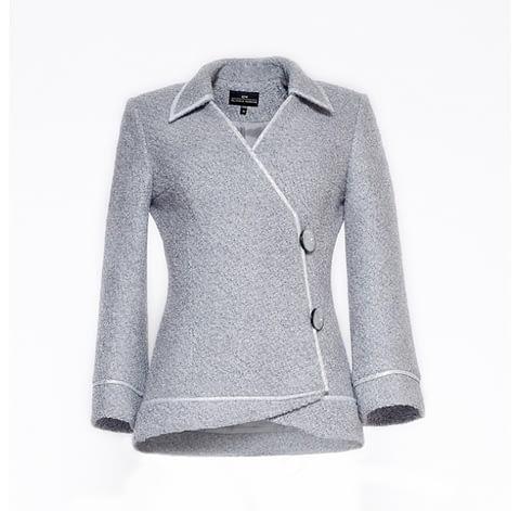 Grey Bouclé Jacket by Elmira Medins