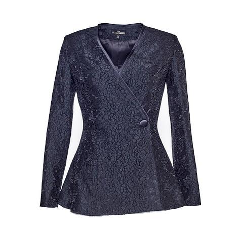 Black Jacquard Jacket by Elmira Medins