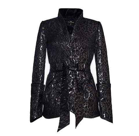 Black Leopard Print Jacquard Jacket