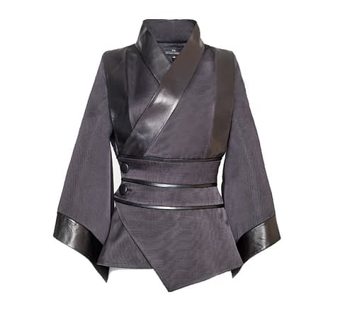 Black Oriental Jacket With Sewn-In Belt