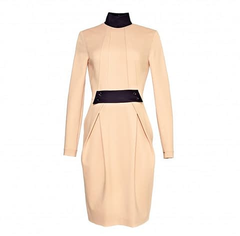 Beige Sheath Jersey Dress by Elmira Medins