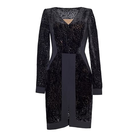 Black Devore Silk Sheath Dress by Elmira Medins