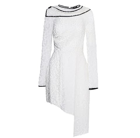 Asymmetrical White Devore Dress by Elmira Medins