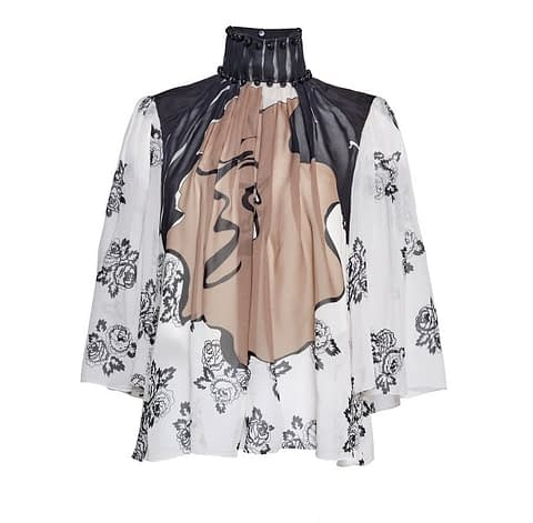 Elmira Medins | Black Pearl Silk Chiffon Blouse
