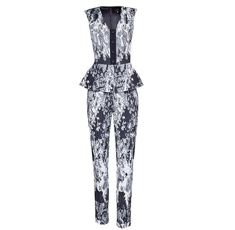 Black And White Jacquard Cotton Jumpsuit by Elmira Medins