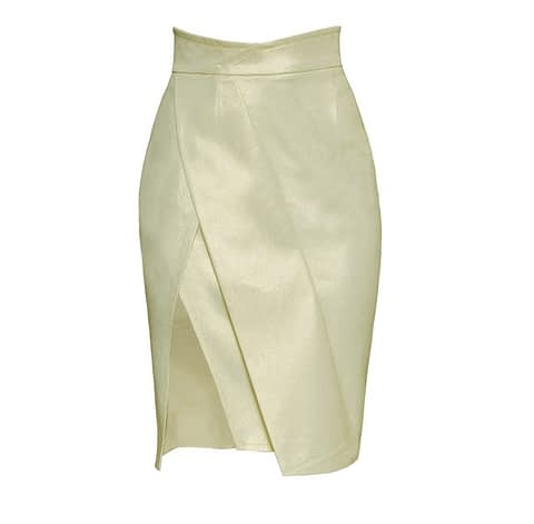 Very Light Green Asymmetric Pencil Jean Skirt by Elmira Medins