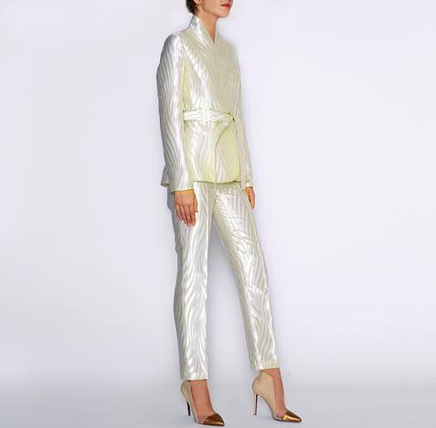 Ivory Pearl Jacquard Jacket