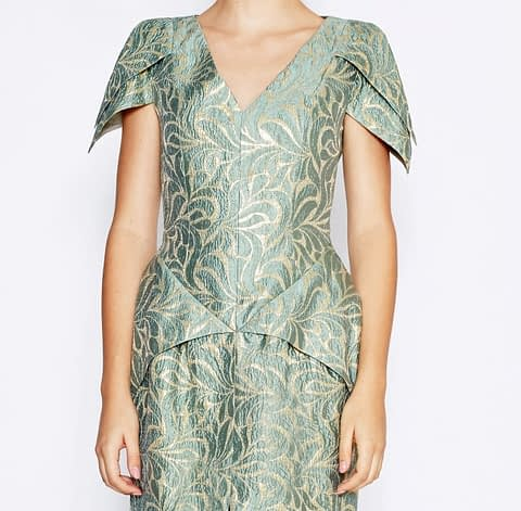 Green & Gold Brocade Silk V-Neck Dress by Elmira Medins