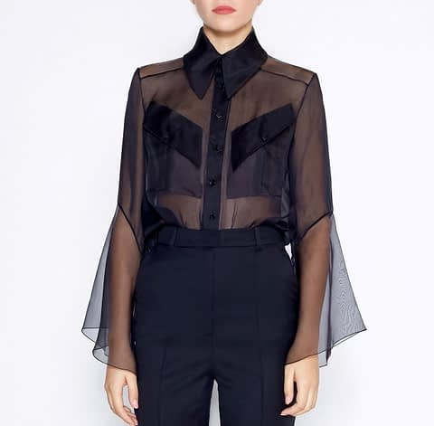 See-Through Black Organza Silk Blouse by Elmira Medins