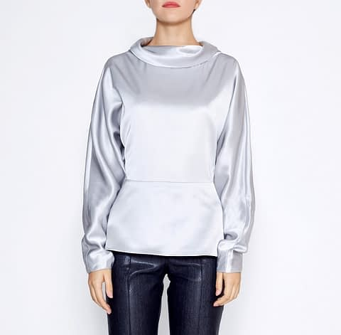 Grey Silk Wool Blouse With Turndown Collar by Elmira Medins