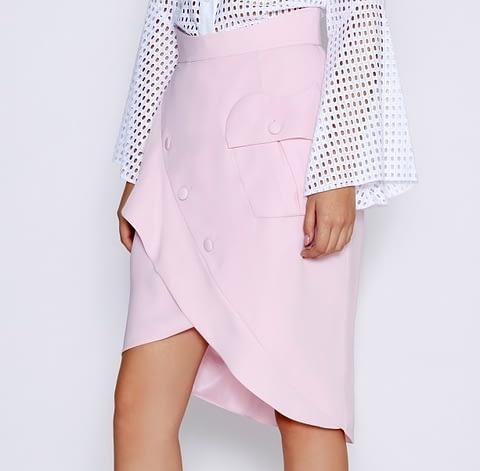 Pink Asymmetrical Ruffle Skirt by Elmira Medins