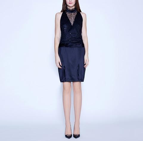 Halter-Neck Black Silk Satin Dress by Elmira Medins