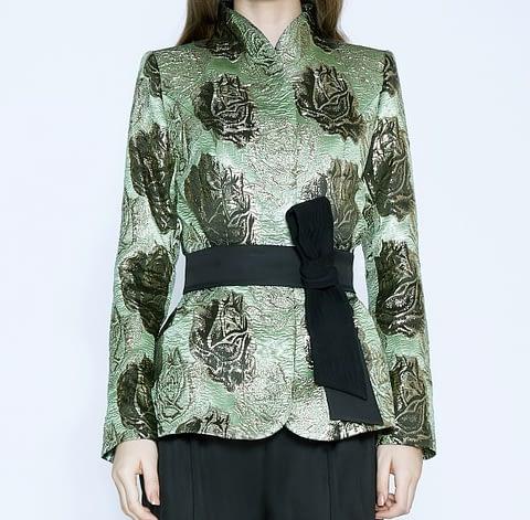 Green & Black Floral Print Jacquard Jacket