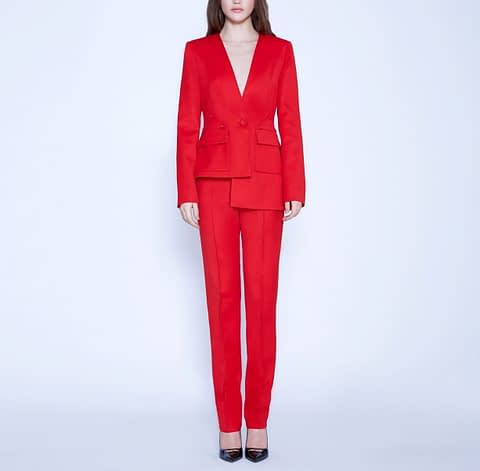 Red Wool Classic Pants and Red Asymmetrical Wool Jacket by Elmira Medins