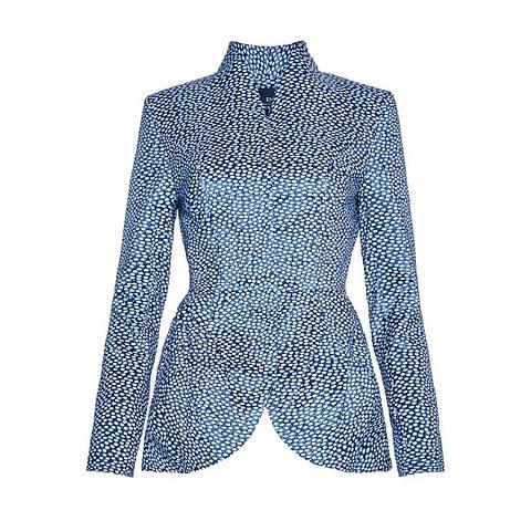 Light Blue Oval Print Jacquard Jacket