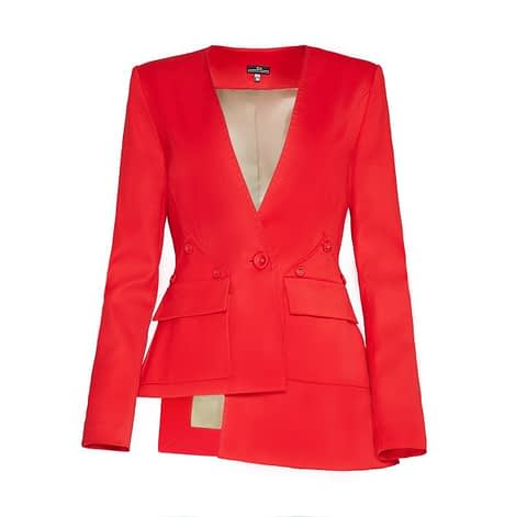 Elmira Medins | Red Asymmetrical Wool Jacket