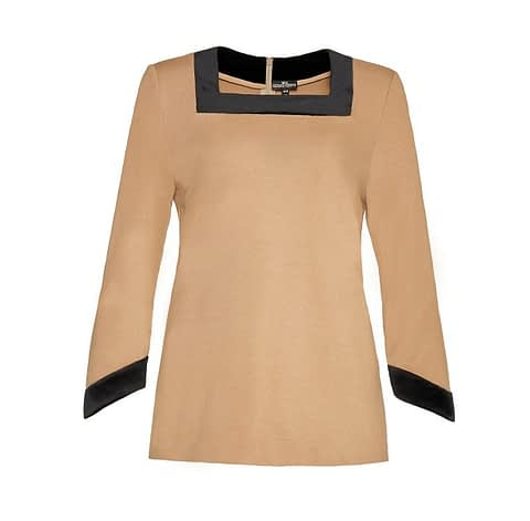Elmira Medins | Beige Sweater With Velvet Details