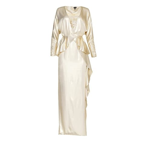 Vintage Pearl-Gold Long Peplum Evening Dress by Elmira Medins
