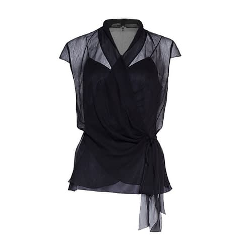 Elmira Medins | Black Silk Chiffon Two-Piece Blouse