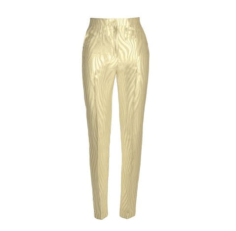 Ivory Pearl Jacquard Pants by Elmira Medins