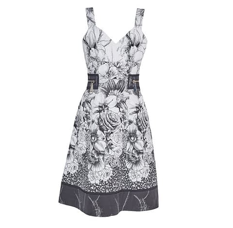 Black & White Jacquard Floral Sundress by Elmira Medins