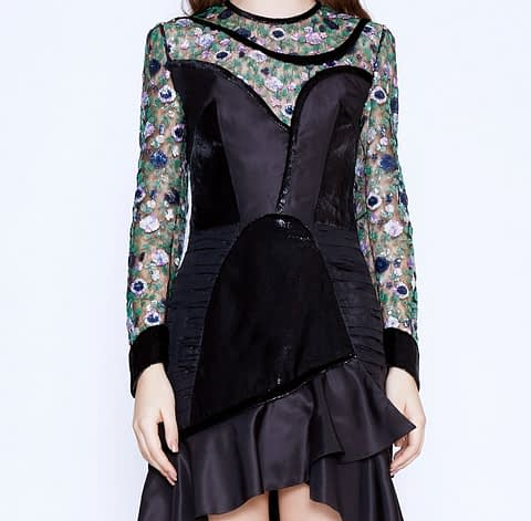 Art Nouveau Mini Black Dress by Elmira Medins