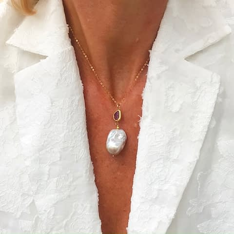 Freshwater Pearl Necklace With Watermelon Tourmaline by Ambersouk