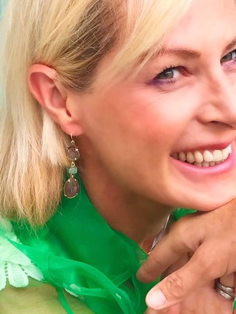 Watermelon Tourmaline & Emerald Earrings