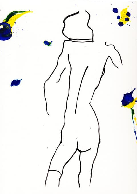 From the GARABATOS series, Body #1 is boldly modern oil on cotton paper by Spanish artist Lorenzo Belenguer.
