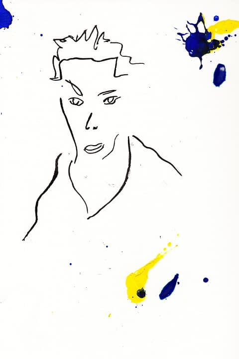 From the GARABATOS series, Face #1 is boldly modern oil on cotton paper by Spanish artist Lorenzo Belenguer.