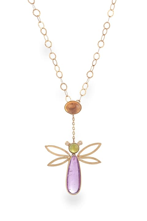 Amethyst And Tourmaline Gold Necklace