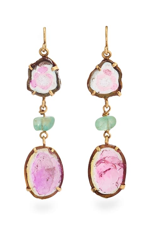 Watermelon Tourmaline & Emerald Earrings