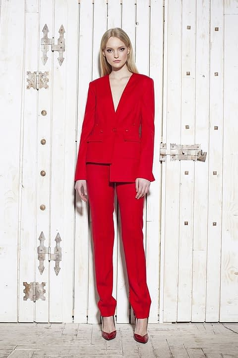 Red Wool Classic Suit by Elmira Medins