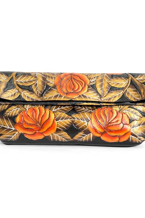 Lady Burton Clutch With Hand-Painted Flowers