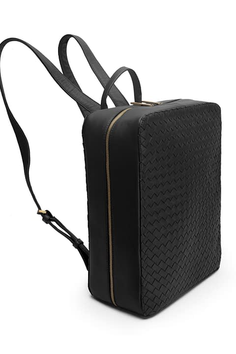Amelia Hand Woven Structured Backpack in Black By Kmana