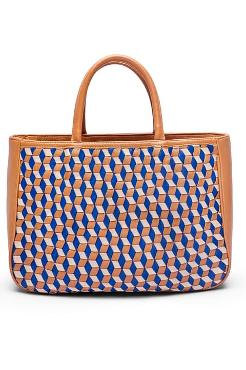 Amelia Hand Woven Mini Tote Bag in 3D pattern by Kmana