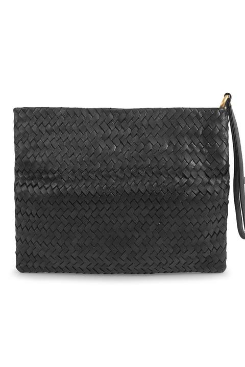 Eleanor Hand-Woven Clutch/Laptop Bag in Black By Kmana