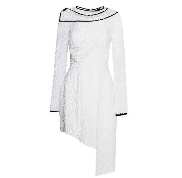 Asymmetrical White Devore Dress by Elmira Medins