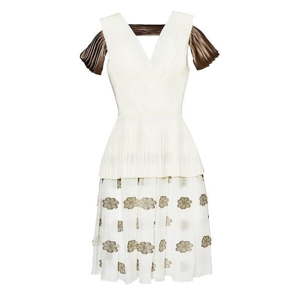 Ivory Cocktail Silk Chiffon Dress by Elmira Medins