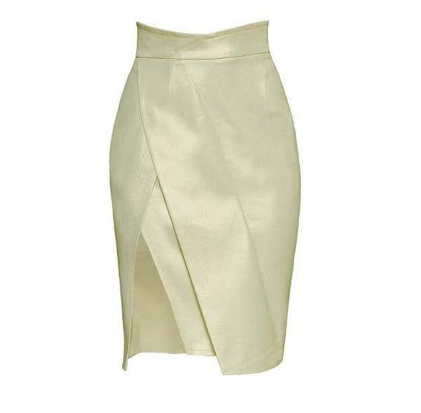 Very Light Green Asymmetric Pencil Jean Skirt by Elmira Medins