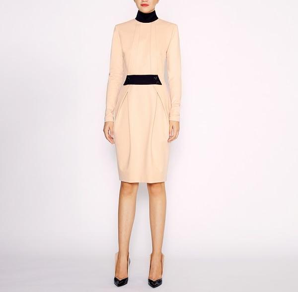 Beige Sheath Jersey Dress by Elmira Medins
