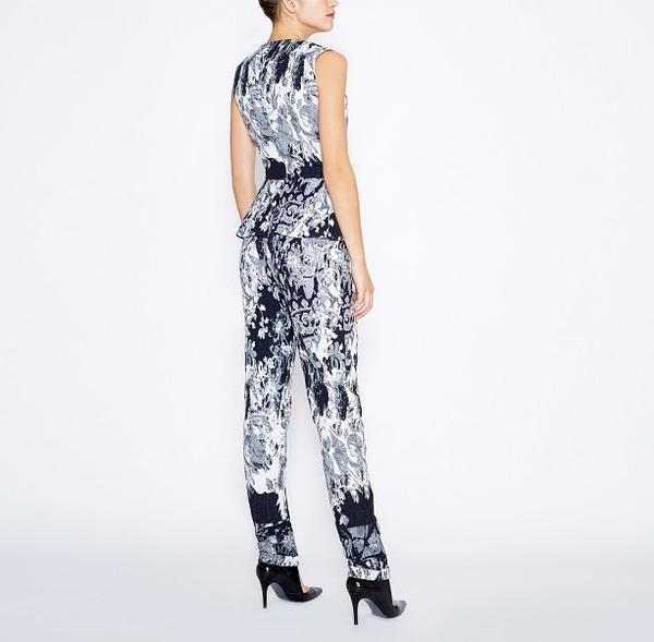 Black And White Jacquard Cotton Jumpsuit by Elmira Medins