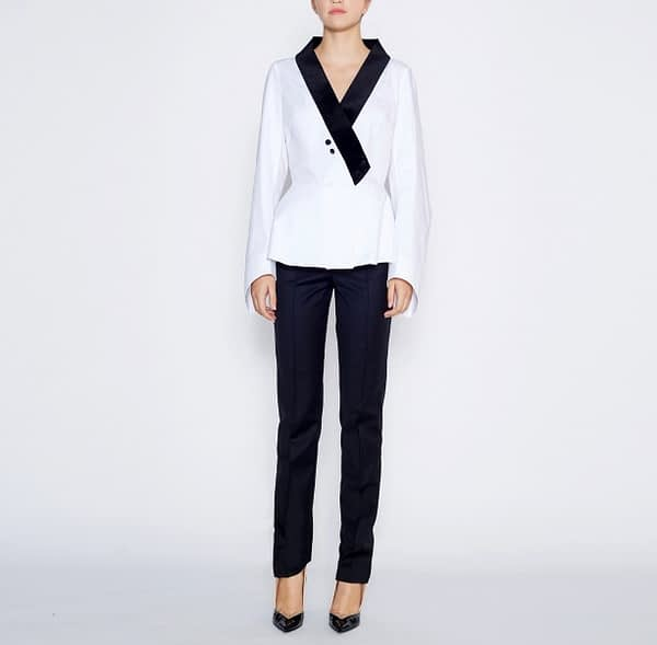 White Cotton Shirt With Black Velvet Collar by Elmira Medins