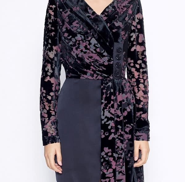Asymmetrical V-Neck Black Satin Devore Dress by Elmira Medins