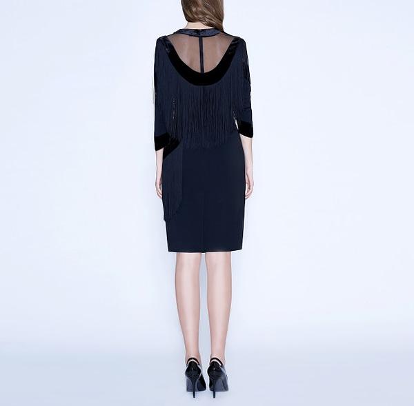 Art Nouveau Black Fringe Dress by Elmira Medins