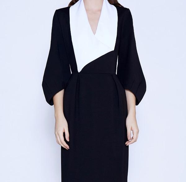 Black Dress With White Collar by Elmira Medins