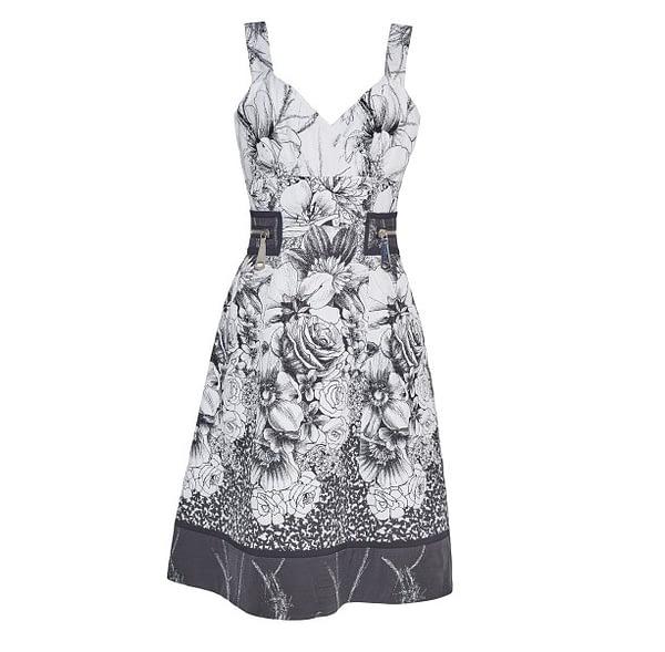 Black & White Jacquard Floral Sundress by Elmira Medins