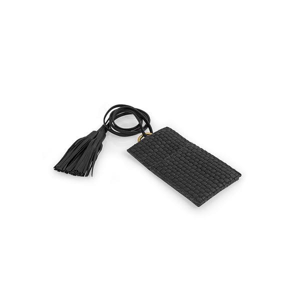 Lady Hester Hand Woven Intrecciato Mini Telephone Case In Black